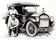 Young Man Drawings Prints - Family Car Print by Natasha Denger