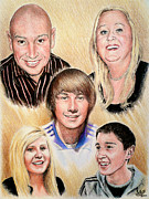 Colored Pencil Drawings Posters - Family Collage Commissions Poster by Andrew Read
