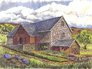 Old Barn Mixed Media Posters - Family Farm pen ink wc Poster by Carol Wisniewski