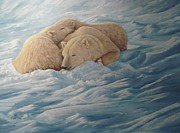 Polar Bears Paintings - Family by Gilles Delage