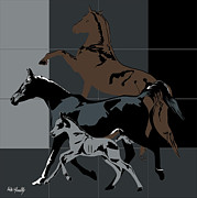 Diving Horse Prints - Family Horses Print by Roby Marelly