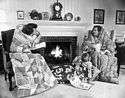 6:35 Prints - Family Huddled By Fireplace Print by Underwood Archives