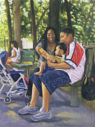 American Artist Paintings - Family in the Park by Colin Bootman