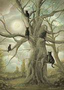 Black Cat Landscape Posters - Family Of Cats. Fantasy Fairy Tale Landscape Painting. By Philippe Fernandez Poster by Philippe Fernandez