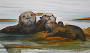 Protective Originals - Family of Three Otters by Jan Lowe