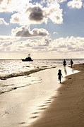 Exotic Metal Prints - Family on sunset beach Metal Print by Elena Elisseeva
