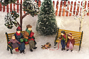 Christmas Village Framed Prints - Family Outing Framed Print by Caitlyn  Grasso