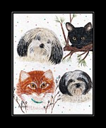 Pussy Willows Posters - Family Pets with Black Border Poster by Barbara Griffin