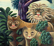 Lioness Painting Prints - Family Portrait Print by Jerzy Marek