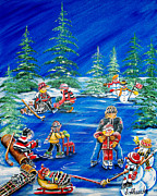 Pond Hockey Paintings - Family Time by Jill Alexander