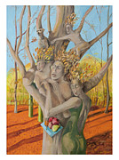 Family Love Painting Originals - Family Tree by Angela Brittain
