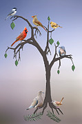 Bluebird Metal Prints - Family Tree Metal Print by Bonnie Barry