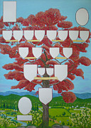 Genealogy Painting Framed Prints - Family tree Ruby-red Framed Print by Alix Mordant