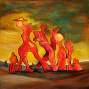 Abstract Composition Paintings - Family Walk by Daniel Dinev