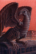 Fantasy Dragon Posters - Famine Vulture Poster by Alan  Hawley