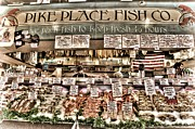 Farmers Market Framed Prints - Famous Fish at Pike Place Market Framed Print by Spencer McDonald