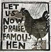 Lino Mixed Media Posters - Famous Hen Poster by Erin Bell