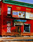 Store Fronts Framed Prints - Famous Montreal Bagels Baked In The Brick Oven At The Maison Original Bagel Factory City Scene Framed Print by Carole Spandau
