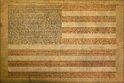 American Flag Mixed Media Prints - Famous Patriotic Quotes American Flag Word Art Print by Design Turnpike
