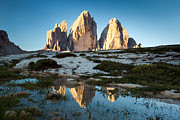 Drei Prints - Famous three peaks at sunrise Dolomites Italy Print by Matteo Colombo