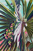 Fronds Paintings - Fan Palm and Bougainvillea by Janis Grau