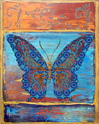 Dragonfly Paintings - Fanciful Blue Butterfly by Jean PLout