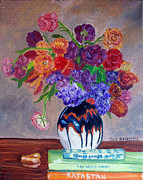 Pottery Paintings - Fanciful Bouquet by Julie Brugh Riffey