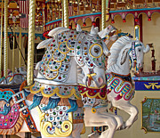 Fanciful Metal Prints - Fanciful Carousel Ponies Metal Print by Ann Horn