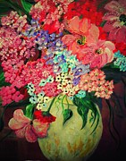 Impressionist Mixed Media - Fanciful Flowers by Eloise Schneider