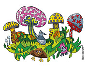 Frank Ramspott Framed Prints - Fanciful Mushroom Nature Doodle Framed Print by Frank Ramspott
