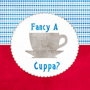 Coffee Cup Prints - Fancy a Cup Print by Linda Woods