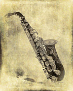 Lobby Art Paintings - Fancy Antique Saxophone in Pastel by Angela A Stanton