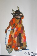 Papier Mache Posters - Fancy Cow Poster by Jennylynd James