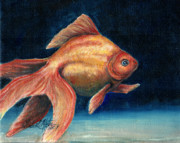 Llmartin Painting Prints - Fancy Goldfish Print by Linda L Martin