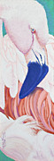 Africa Pastels Originals - Fandango I Flamingo by Tracy L Teeter