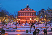Boston Nights Framed Prints - Faneuil Hall Holiday- Boston Framed Print by Joann Vitali