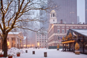 United Framed Prints - Faneuil Hall in Snow Framed Print by Susan Cole Kelly