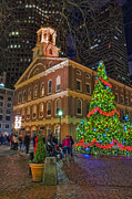 Faneuil Hall Prints - Faneuil Hall Night Print by Joann Vitali