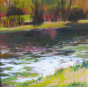 Waterscape Painting Metal Prints - Fanno Creek Beaverton Metal Print by Melody Cleary