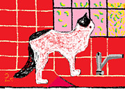 Tile Drawings Prints - Fantasia on the Kitchen Counter Print by Anita Dale Livaditis