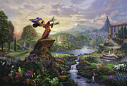 Disney Framed Prints - Fantasia Framed Print by Thomas Kinkade