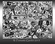 Black-and-white Reliefs Prints - Fantastic Garden 2013 Print by Maria Arango Diener