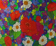 Garden Tapestries - Textiles Originals - Fantastic Garden Detail by Robin Becker