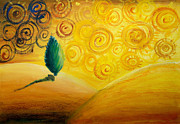 Light Yellow Drawings - Fantasy Art - Lonely Tree by Nirdesha Munasinghe