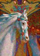 Pier 39 Digital Art - fantasy carousel horse - Carousel Lights by Sharon Hudson
