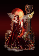 Dark Red Paintings - Fantasy Fire Fairy with Phoenix by Gina Femrite