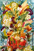 Reds Gold Greens White Blues Prints - Fantasy Floral 1 Print by Carole Goldman
