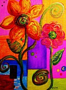 Orange Paintings - Fantasy Flowers by Eloise Schneider