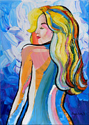 Palette Knife Reliefs Framed Prints - Fantasy Girl  Framed Print by Denisa Laura Doltu