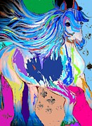 Equine Art Pastels Posters - Fantasy Horse Bold Colors 1 Abstract Poster by Saundra Myles